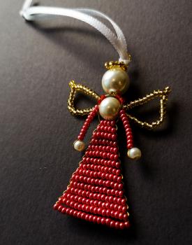 Pērļu eņģelītis - sarkans glancēts